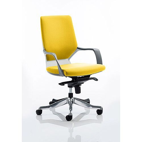 Xenon Executive Office Chair White Frame Medium Back Sunset Yellow Seat