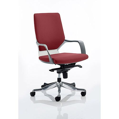 Xenon Executive Office Chair White Frame Medium Back Chilli Red Seat