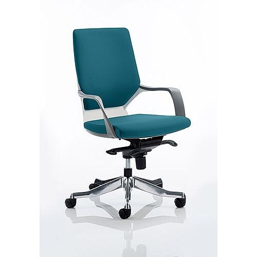 Xenon Executive Office Chair White Frame Medium Back Kingfisher Green Seat