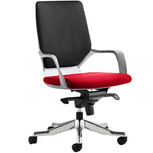 Xenon Executive Office Chair White Frame Medium Back Black &Cherry Red Seat