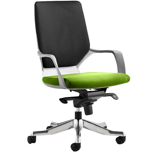 Xenon Executive Office Chair White Frame Medium Back Black &Swizzle Green Seat