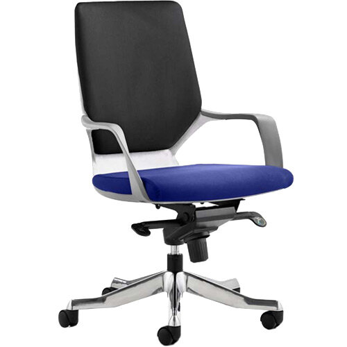 Xenon Executive Office Chair White Frame Medium Back Black &Serene Blue Seat