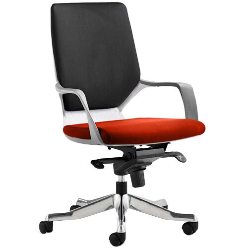 Xenon Executive Office Chair White Frame Medium Back Black &Pimento Rustic Orange Seat
