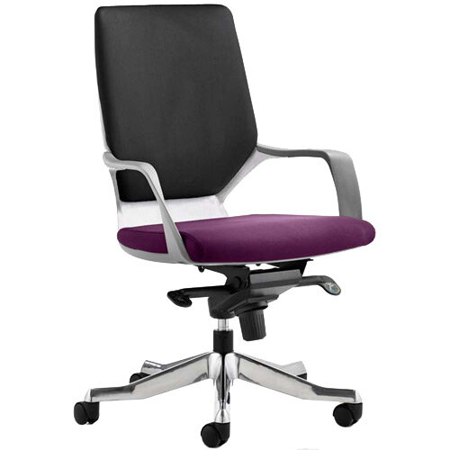 Xenon Executive Office Chair White Frame Medium Back Black &Purple Seat