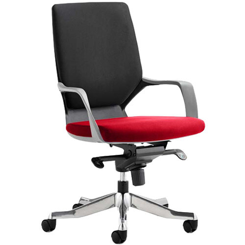 Xenon Executive Office Chair Black Frame Medium Back Black &Cherry Red Seat