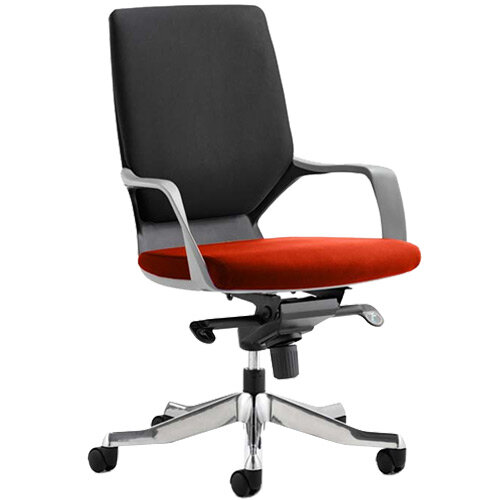 Xenon Executive Office Chair Black Frame Medium Back Black &Pimento Rustic Orange Seat