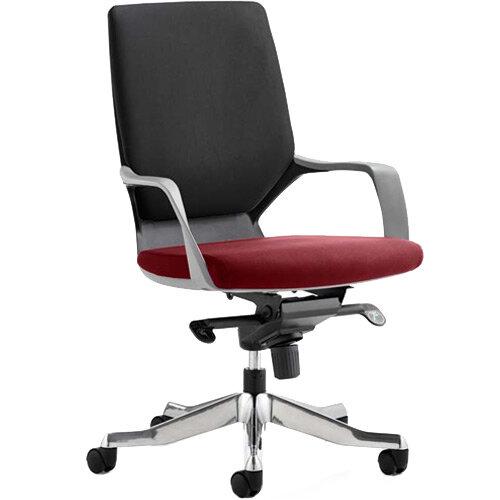 Xenon Executive Office Chair Black Frame Medium Back Black &Chilli Red Seat