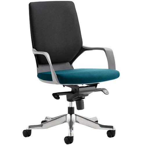 Xenon Executive Office Chair Black Frame Medium Back Black &Kingfisher Green Seat