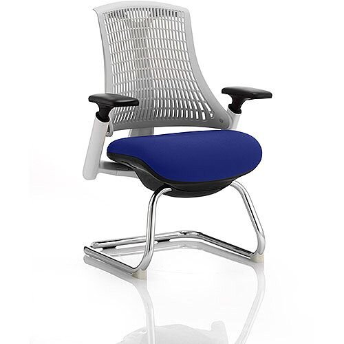 Flex Boardroom &Visitor Chair White Cantilever Frame White Back Serene Blue Seat