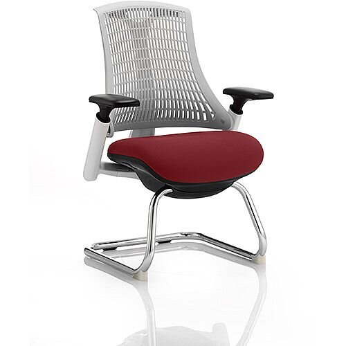 Flex Boardroom &Visitor Chair White Cantilever Frame White Back Chilli Red Seat