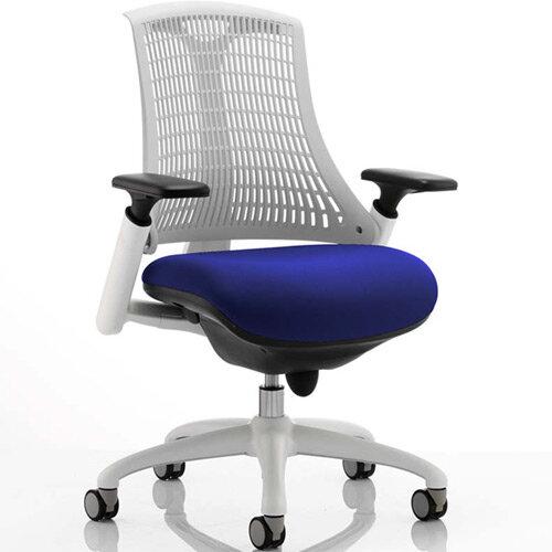 Flex Task Operator Office Chair White Frame White Back Serene Blue Seat
