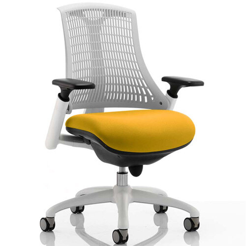 Flex Task Operator Office Chair White Frame White Back Sunset Yellow Seat
