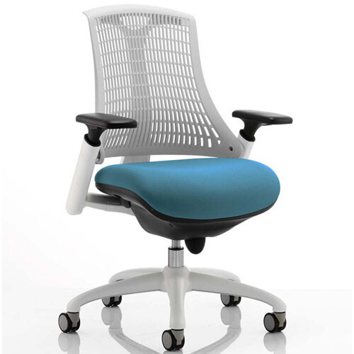 Flex Task Operator Office Chair White Frame White Back Kingfisher Green Seat
