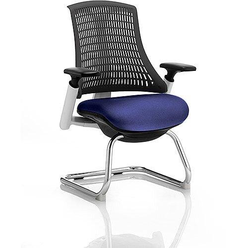 Flex Boardroom &Visitor Chair White Cantilever Frame Black Back Serene Blue Seat
