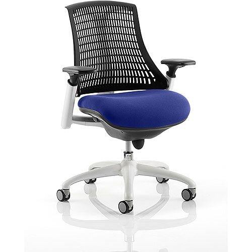 Flex Task Operator Office Chair White Frame Black Back Serene Blue Seat