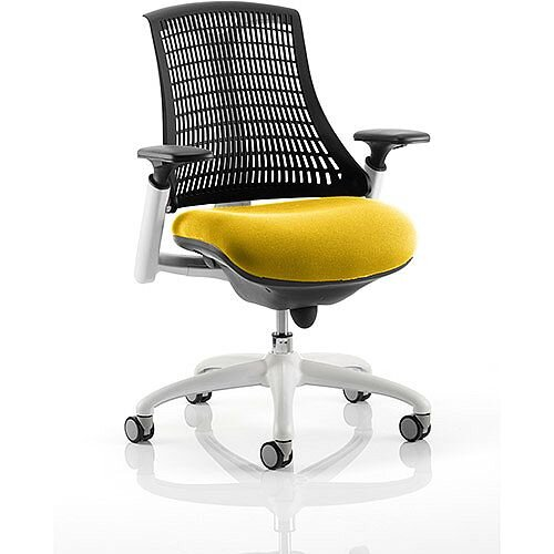 Flex Task Operator Office Chair White Frame Black Back Sunset Yellow Seat
