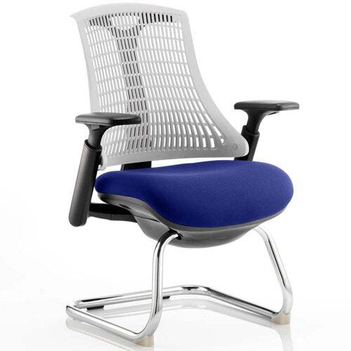 Flex Boardroom &Visitor Chair Black Cantilever Frame White Back Serene Blue Seat