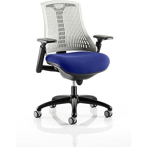 Flex Task Operator Office Chair Black Frame White Back Serene Blue Seat