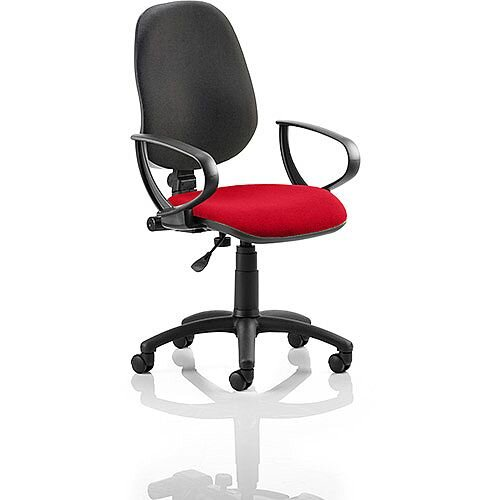 Eclipse I Lever Task Operator Office Chair With Loop Arms Black Back Cherry Red Seat