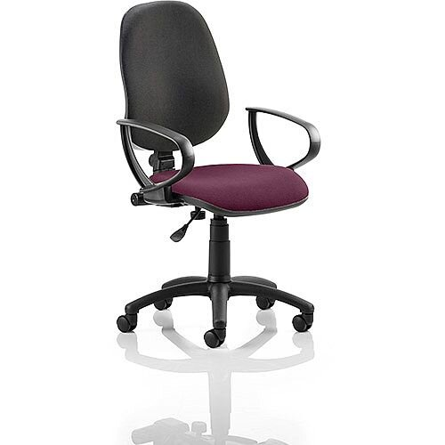 Eclipse I Lever Task Operator Office Chair With Loop Arms Black Back Purple Seat
