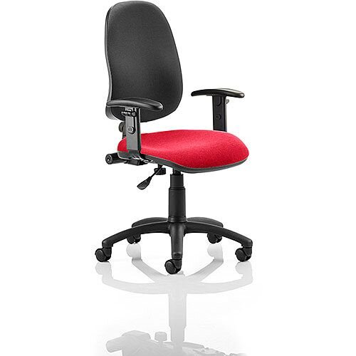 Eclipse I Lever Task Operator Office Chair With Height Adjustable Arms Black Back Cherry Red Seat