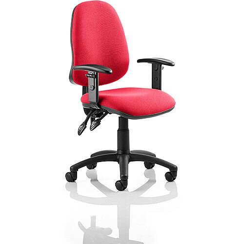 Eclipse II Lever Task Operator Office Chair With Height Adjustable Arms In Cherry Red
