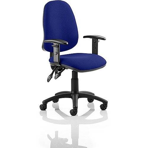Eclipse II Lever Task Operator Office Chair With Height Adjustable Arms In Serene Blue