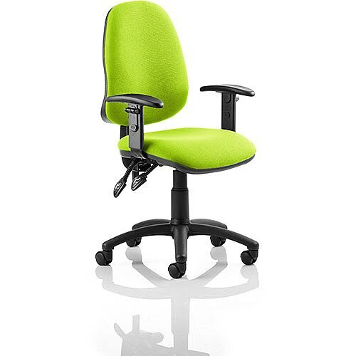 Eclipse II Lever Task Operator Office Chair With Height Adjustable Arms In Swizzle Green