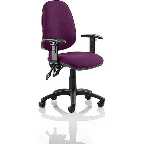 Eclipse II Lever Task Operator Office Chair With Height Adjustable Arms In Purple