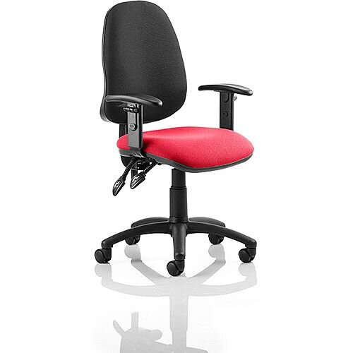 Eclipse II Lever Task Operator Office Chair With Height Adjustable Arms Black Back Cherry Red Seat