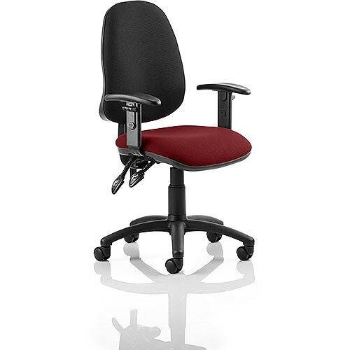 Eclipse II Lever Task Operator Office Chair With Height Adjustable Arms Black Back Chilli Red Seat
