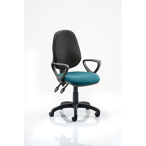 Eclipse II Lever Task Operator Office Chair With Loop Arms Black Back Kingfisher Green Seat