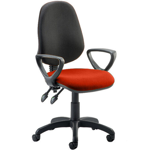 Eclipse II Lever Task Operator Office Chair With Loop Arms Black Back Pimento Rustic Orange Seat