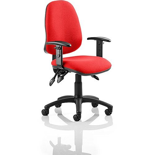 Eclipse III Lever Task Operator Office Chair With Height Adjustable Arms In Cherry Red