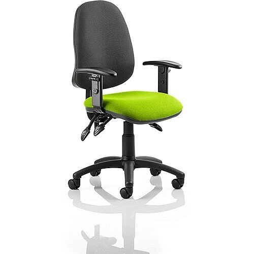 Eclipse III Lever Task Operator Office Chair With Height Adjustable Arms Black Back Swizzle Green Seat