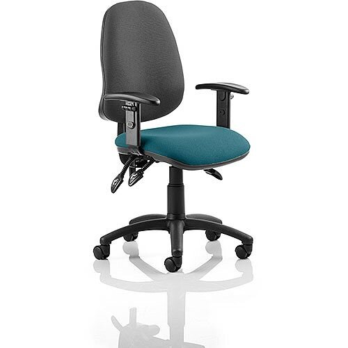 Eclipse III Lever Task Operator Office Chair With Height Adjustable Arms Black Back Kingfisher Green Seat