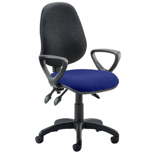 Eclipse III Lever Task Operator Office Chair With Loop Arms Black Back Serene Blue Seat