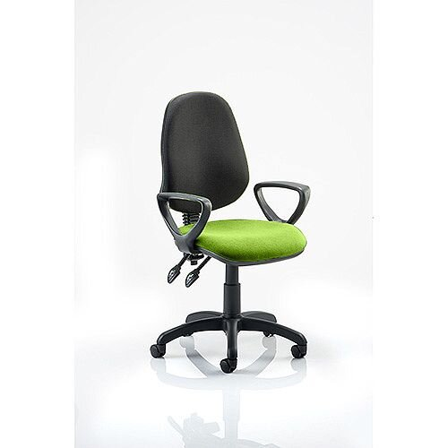 Eclipse III Lever Task Operator Office Chair With Loop Arms Black Back Swizzle Green Seat
