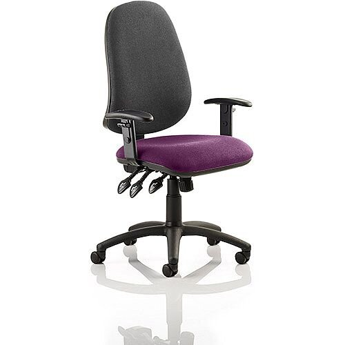 Eclipse XL III Lever Task Operator Office Chair With Height Adjustable Arms Black Back Purple Seat