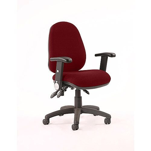 Luna II Lever Task Operator Office Chair With Height Adjustable &Folding Arms In Chilli Red