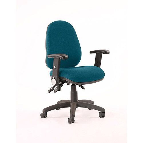 Luna II Lever Task Operator Office Chair With Height Adjustable &Folding Arms In Kingfisher Green