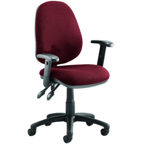 Luna II Lever Task Operator Office Chair With Height Adjustable Arms In Chilli Red