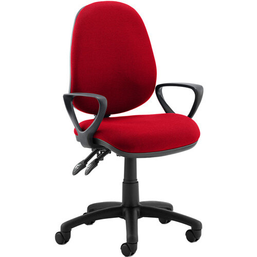 Luna II Lever Task Operator Office Chair With Loop Arms In Cherry Red