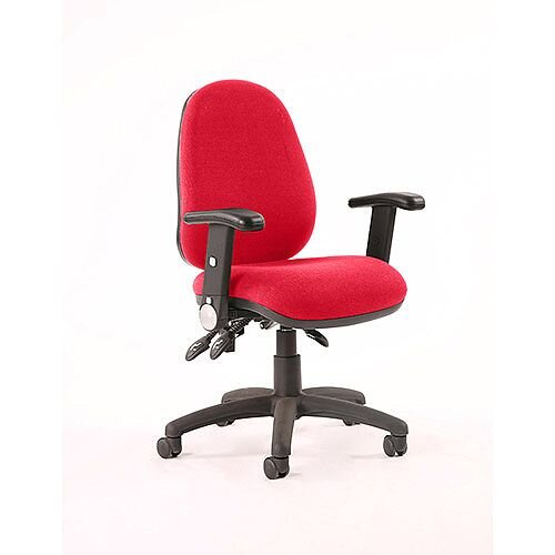 Luna III Lever Task Operator Office Chair With Height Adjustable &Folding Arms In Cherry Red