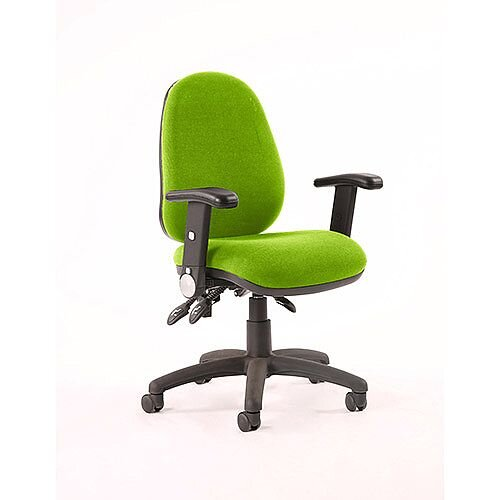 Luna III Lever Task Operator Office Chair With Height Adjustable &Folding Arms In Swizzle Green