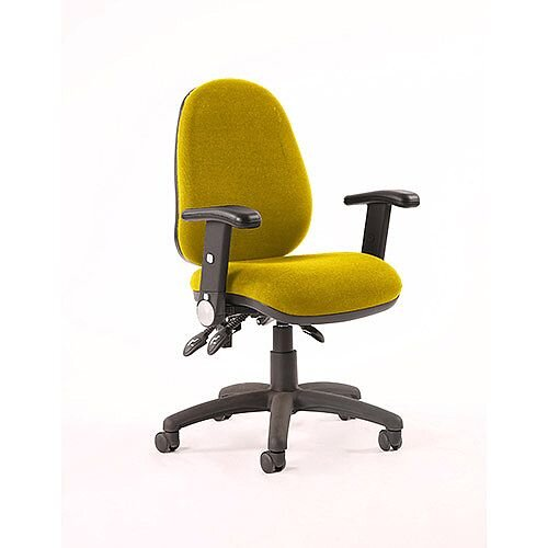 Luna III Lever Task Operator Office Chair With Height Adjustable &Folding Arms In Sunset Yellow