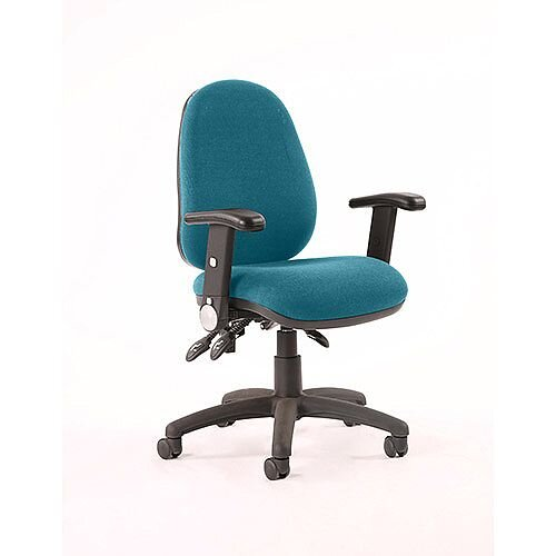 Luna III Lever Task Operator Office Chair With Height Adjustable &Folding Arms In Kingfisher Green