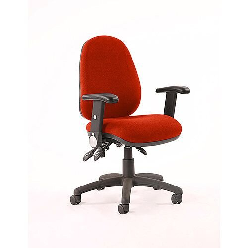 Luna III Lever Task Operator Office Chair With Height Adjustable &Folding Arms In Pimento Rustic Orange