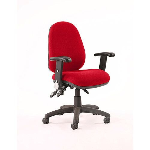 Luna III Lever Task Operator Office Chair With Height Adjustable Arms In Cherry Red