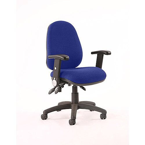 Luna III Lever Task Operator Office Chair With Height Adjustable Arms In Serene Blue